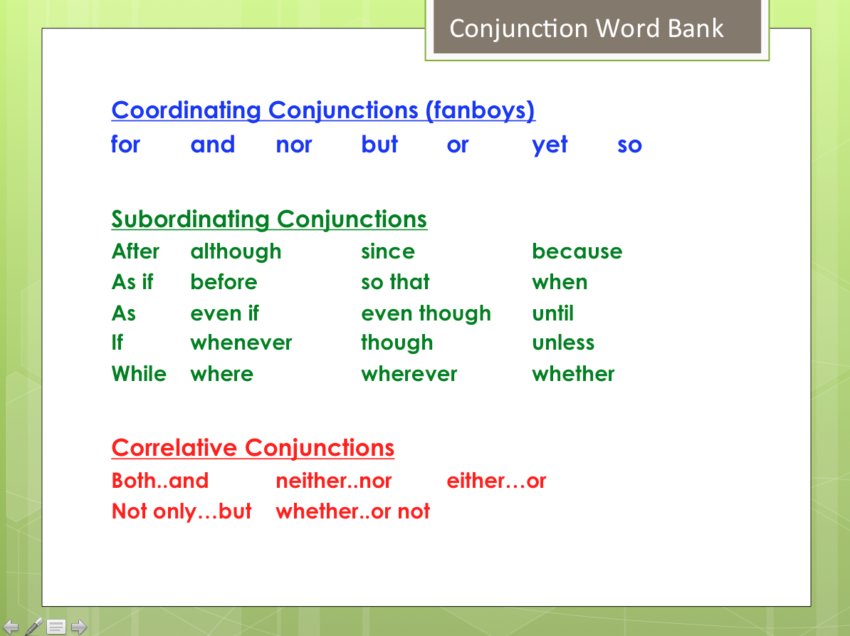 conjunction words list for essay Welcome to the engagement area of the purdue owl we've also eliminated some of the words so remember to use a comma if the subordinating conjunction.